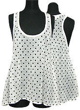 Tops331 Polka Dot Knitted Tank Top/Black Dot