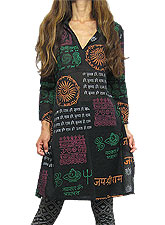 Tops370 Tunic Dress w/ Ethinic Print/Black