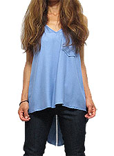 Tops408 Back-Tail Slit Tank Shirt/Blue