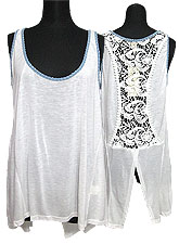 Tops409 Back-Lace Tank Top/White