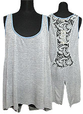 Tops410 Back-Lace Tank Top/Heather Grey