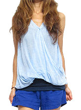 Tops516 Wrap-Over Tank Blouse/Blue
