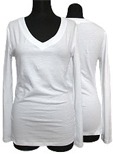Tops533 Basic V-Neck L/S T-Shirt/White