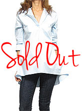 Tops543 Cotton Stretch Hi-Low Shirt/Light Blue