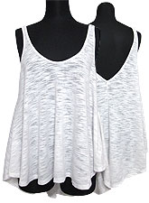 Tops558 Hi-Low Flare Tank Top/White