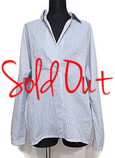 Tops592 Overlap Neckline Strip Shirt/White & Blue