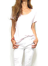 Tops607 Basic Relaxed Scoop Neck T-Shirt/Lavender