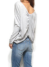 Tops644 Back Twist Sweat T/ Heather Grey