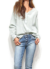 Tops647 V-Cut Stripe Cross-Back Shirt/Sage