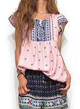 Tops662 Frilly Cap SLeeve Bohemian Blouse/Rose