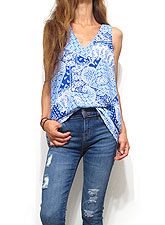 Tops668 Bandana Tank Blouse/ Blue
