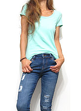 Tops670 Basic Scoop Neck S/S T-Shirt/Mint