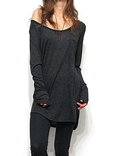 Tops692 Back Drape Knit & Cut Tunic Top/Charcoal