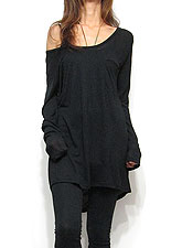Tops693 Back Drape Knit & Cut Tunic Top/Black