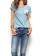Tops703 Cali Bear Pocket Slub T-Shirt/Dusty Mint