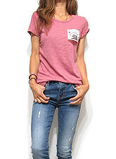 Tops704 Cali Bear Pocket Slub T-Shirt/Dusty Berry