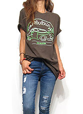 Tops706 The Fabulous 50's Crew T/Brown