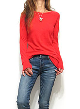 Tops731 Basic Raglan L/S T-Shirt/Red