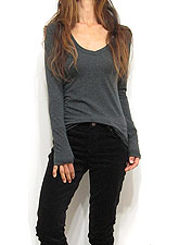 Tops734 Basic V-Neck L/S T-Shirt/Charcoal