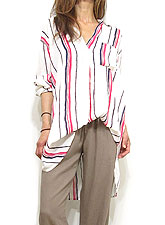 Tops738 Irregular Stripe V-Cut Blouse/Off White