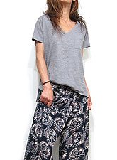 Tops743 Relax Slub T with Pocket/Smoke Grey