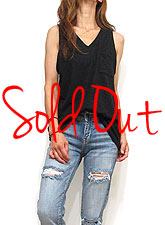Tops752 V-Cut Pocket Slub Tank Top/Black