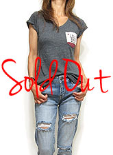 Tops763 V-Neck Slub T with LOVE Pocket/Charcoal
