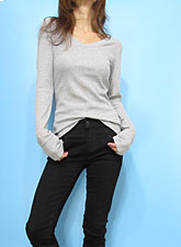 Tops778 Basic V-Neck L/S Waffle T/Heather Grey