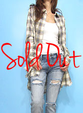 Tops783 Long Plaid Flannel Shirt/Ivory