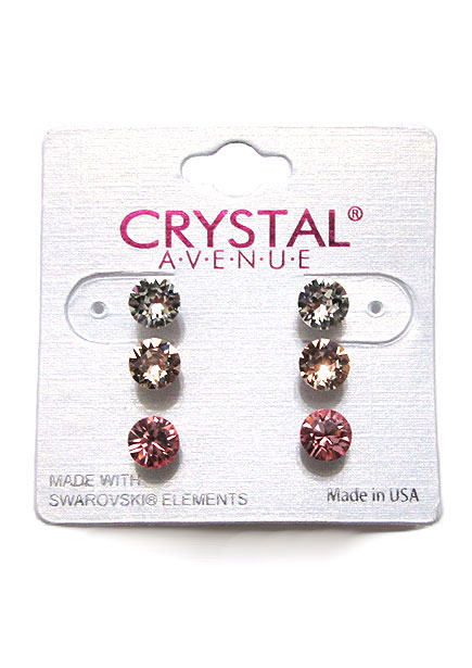 Accessory001 Rhinestone Earrings/Pink Mix