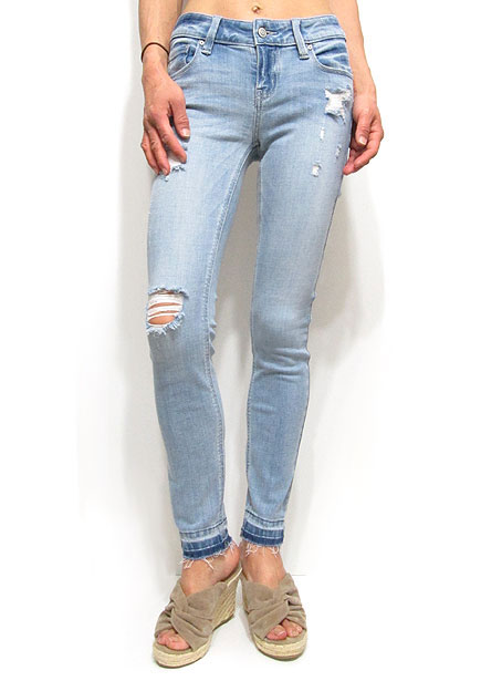 Denim054 Unfinished Skinny Ankle Denim/Light Denim