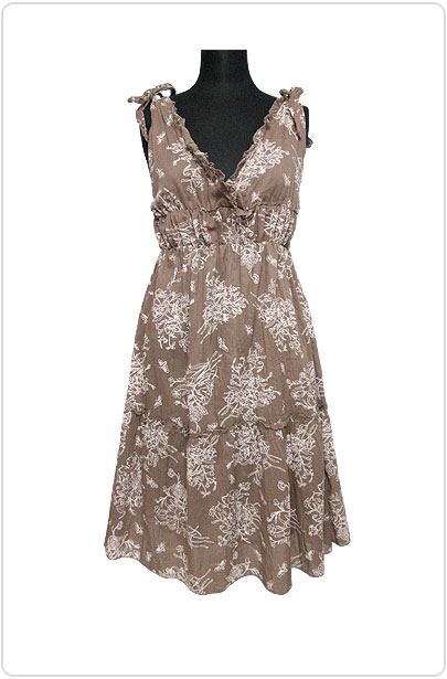 Dress086 Flower Print Tie-Strap Dress/Tan