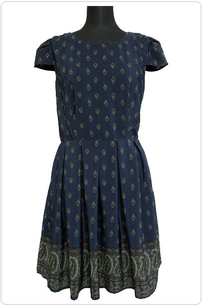 Dress098 Classic Pleated Dress/Navy