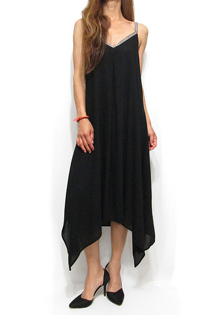 Dress106 Ribbon Strap Side-Tail Dress/Black