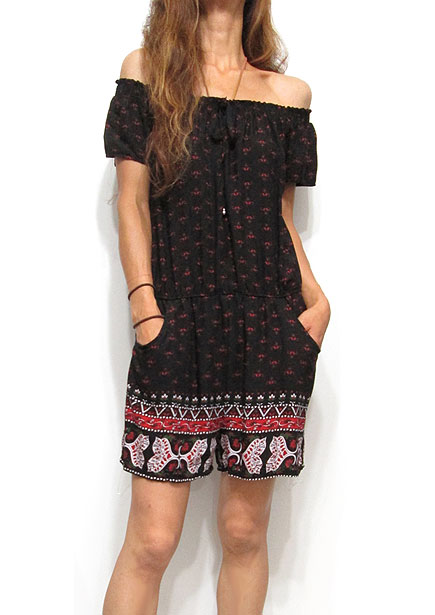 Dress122 Off-Shoulder Rompers/Red Floral on Black