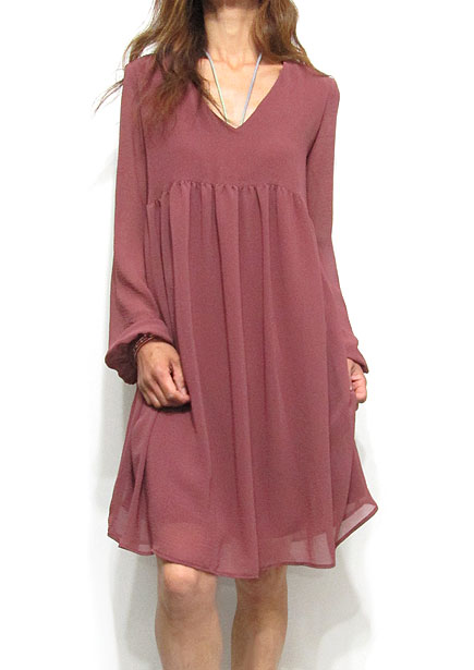 Dress128 Hi-Waist V-Neck Chiffon Dress/Mauve