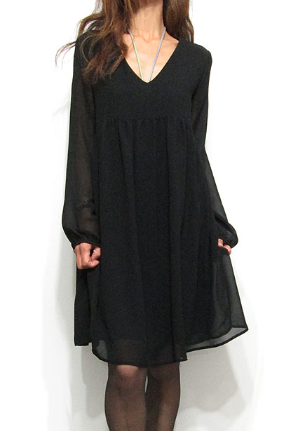 Dress129 Hi-Waist V-Neck Chiffon Dress/Black