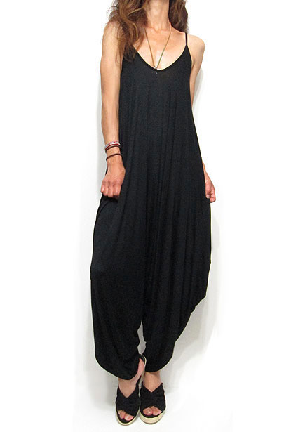 Dress133 Drapy Long Rompers/Black