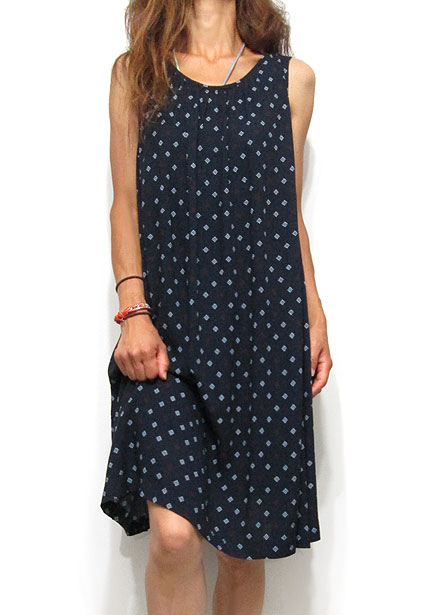 Dress135 Round Neck A-Line Print Dress/Navy