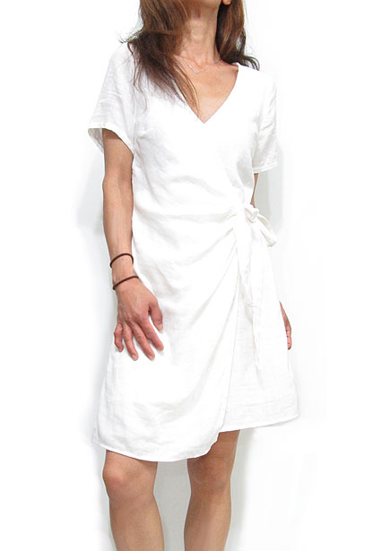 Dress143 Crossover Cotton Dress/White