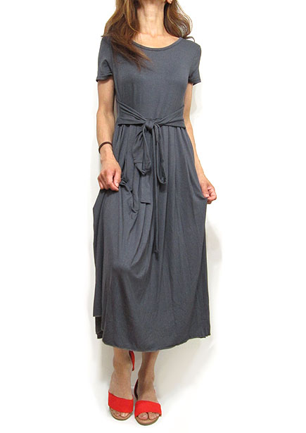 Dress145 Waist Tie Pleated Dress/Charcoal
