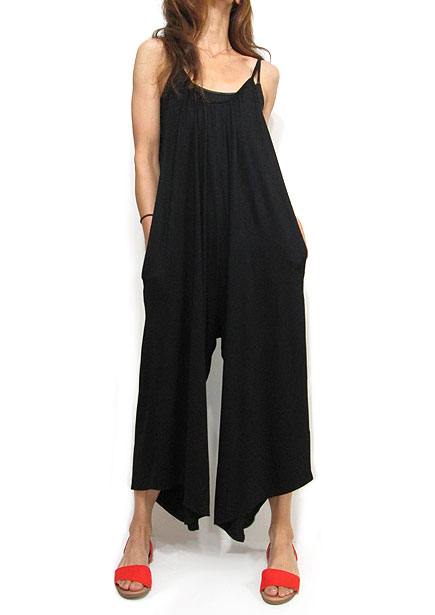 Dress147 Ankle Length Rompers with Pocket/Black
