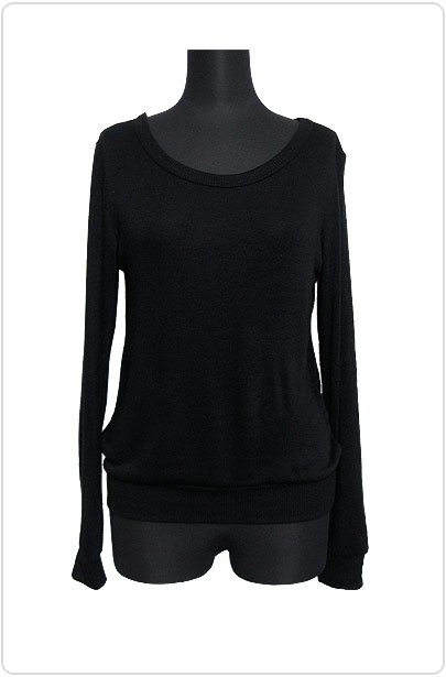 Knit083 Simple Back-Split Knitted Top/Black
