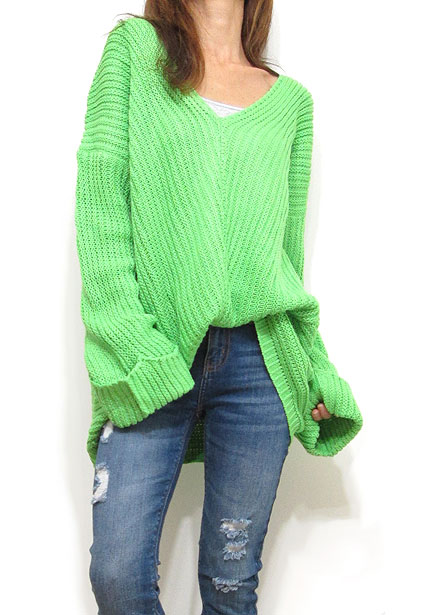 Knit213 Bias Seam Off-Shoulder Knitted Top/Lime