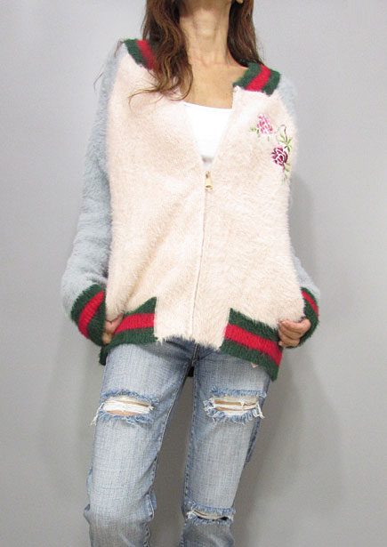 Knit222 Bi-Color Fuzzy Knit Stadium Jacket/Pink