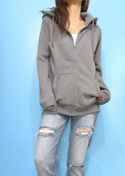 Outer087 Basic Oversized Zip-Up Hoody/Heather Grey