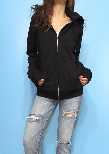Outer089 Basic Zip-Up Hoody/Black
