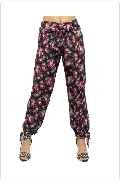 Pants082 Flower Print Chiffon Training Pants/Black