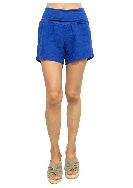 Pants136 Linen Short Pants/Blue
