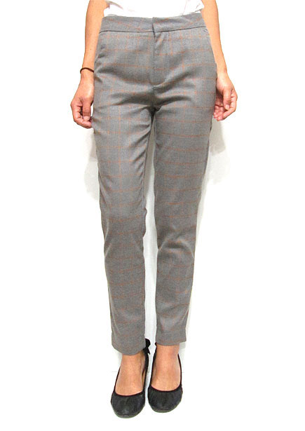 Pants154 Checkered Sleek Pants/Grey